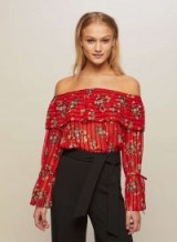 Miss Selfridge Red Tie Sleeve Bardot Top ~ floral off the shoulder tops