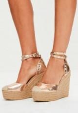 missguided rose gold metallic heeled espadrilles