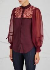 THREE FLOOR Rosebud burgundy satin blouse