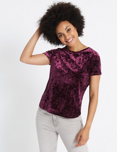 Ms Collection New Round Neck Short Sleeve T Shirt Purple Te