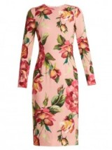 DOLCE & GABBANA Round-neck rose-print crepe-cady dress ~ pink floral dresses ~ beautiful Italian clothing