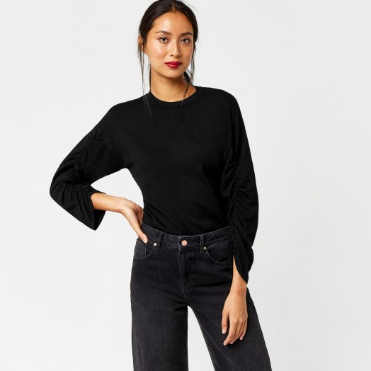 Warehouse RUCHED SLEEVE JUMPER #jumpers #black #knitwear