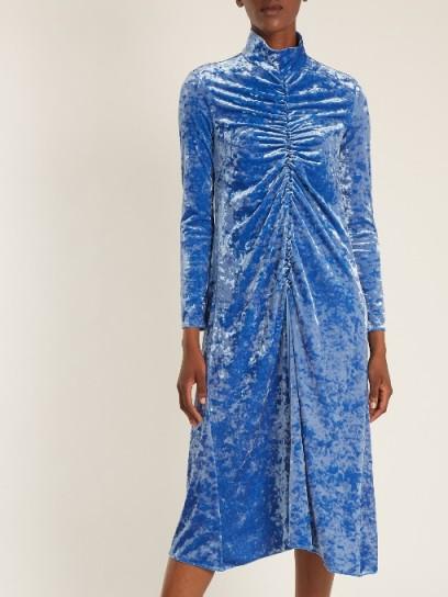 TIBI Ruched-detail high-neck crushed-velvet dress