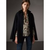 BURBERRY Ruffle Collar Wool Cape – chic navy capes