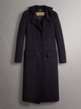 BURBERRY Ruffled Collar Wool Cashmere Coat – elegant single breasted coats – winter chic