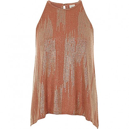 RIVER ISLAND Rust metallic sleeveless trapeze top – party fashion – going out tops
