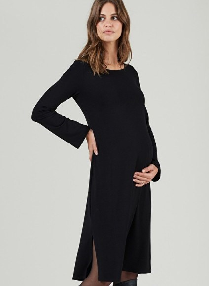 Isabella Oliver SABINA MATERNITY DRESS – lbd – black side slit jersey dresses - flipped