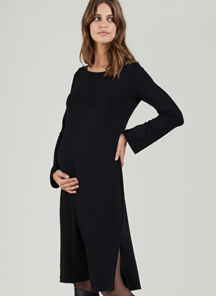 Isabella Oliver SABINA MATERNITY DRESS – lbd – black side slit jersey dresses