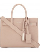 SAINT LAURENT Sac de Jour nano pale blush grained leather tote