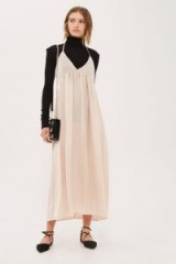 TOPSHOP Satin Maxi Dress ~ nude slip dresses