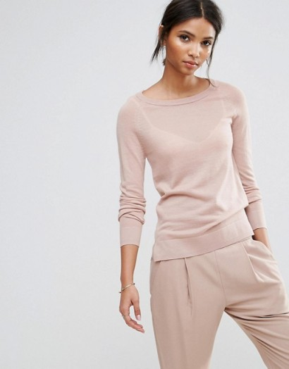 Selected Long Sleeve O-Neck Knit #tops #pink #fineknit #jumpers #knitwear