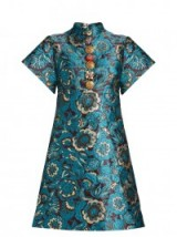 DOLCE & GABBANA Short-sleeved floral-brocade mini dress