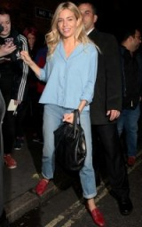 Sienna Miller's casual style leaving the Apollo Theatre, August 2017