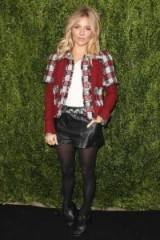 Sienna Miller mixes Chanel tweed and leather