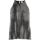 River Island Silver metallic sleeveless trapeze top #evening #tops #fashion