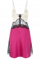 LA PERLA BI-COLOUR SILK SLIPDRESS WITH LEAVERS LACE INSERTS – luxury slip dresses