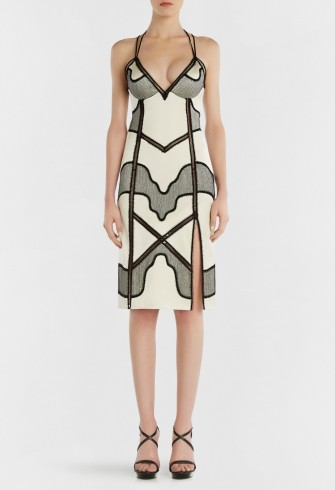 LA PERLA SILK PATCHWORK SLIPDRESS WITH BUILT-IN BRA – plunging slip dresses