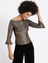 M&S COLLECTION Sparkly Flared Sleeve Bardot Top / metallic copper tops / Marks and Spencer evening fashion