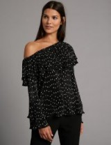 AUTOGRAPH Spotted One Shoulder Long Sleeve Blouse / spot print blouses / Marks and Spencer ruffle tops