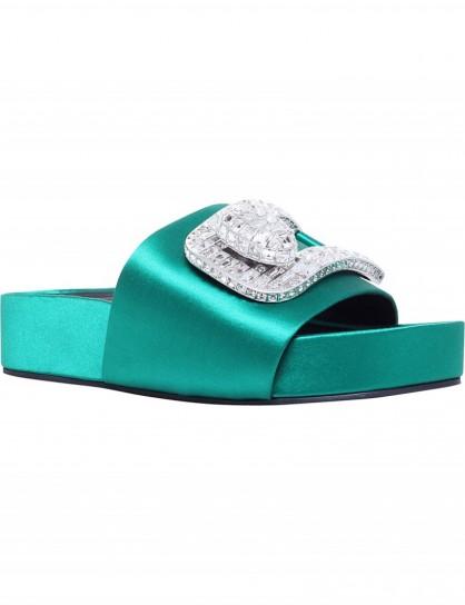 STELLA LUNA Embellished buckle satin slides #green #luxe #shoes