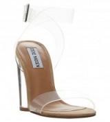 STEVE MADDEN Open-toe transparent sandals – clear ankle strap shoes