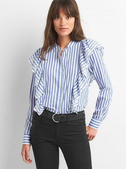 GAP Stripe eyelet cascade ruffle shirt #shirts #striped #blue #ruffled
