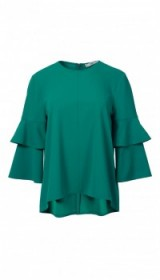 TIBI STRUCTURED CREPE BELL SLEEVE TOP – green frill sleeved tops