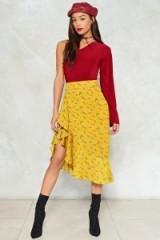 Nasty Gal Sunday Best Midi Skirt ~ mustard yellow asymmetric dresses