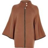 River Island Tan cape sleeve funnel neck knit jacket