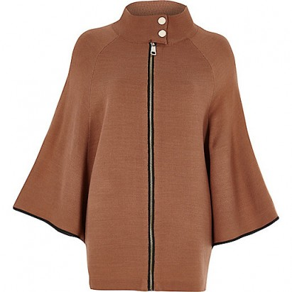 River Island Tan cape sleeve funnel neck knit jacket