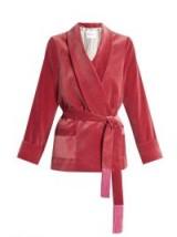 Tassel-embellished belted velvet jacket – pink wrap jackets