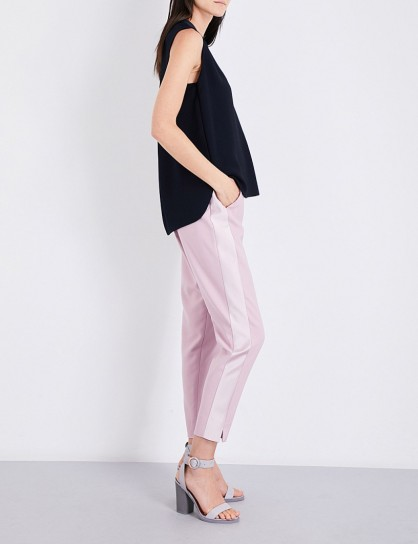 TED BAKER High-rise tapered satin and twill trousers