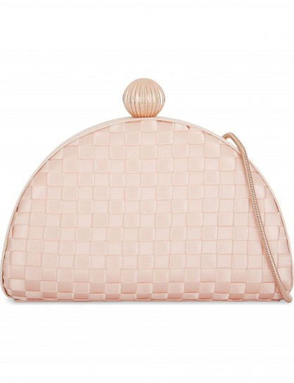 TED BAKER Woven clutch – pale pink occasion bags