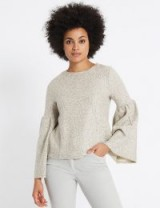 M&S COLLECTION Textured Round Neck Flute Sleeve Sweatshirt / bell sleeved sweatshirts / Marks and Spencer fashion