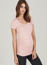 ISABELLA OLIVER THE MATERNITY CAP SCOOP TOP Quartz Pink ~ side ruched tops
