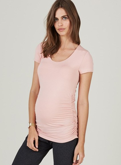 ISABELLA OLIVER THE MATERNITY CAP SCOOP TOP Quartz Pink ~ side ruched tops - flipped