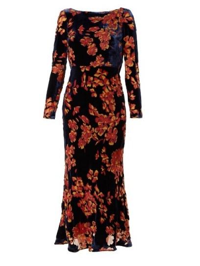 SALONI Tina boat-neck floral devoré dress ~ velvet evening dresses - flipped