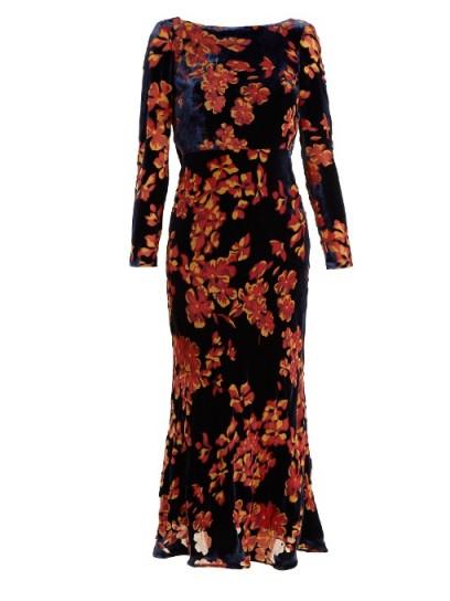 SALONI Tina boat-neck floral devoré dress ~ velvet evening dresses
