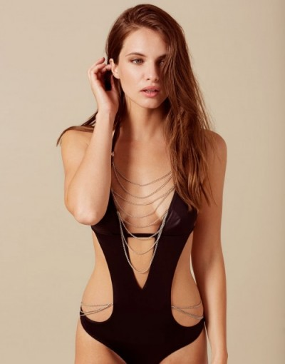 Agent Provocateur Tonya Swimsuit Black And Silver ~ halter swimwear ~ chain embellished swimsuits
