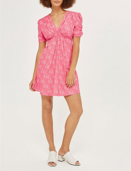 TOPSHOP Capel-print cotton dress – pink dresses