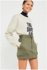 Urban Renewal Vintage Customised Military Cargo Skirt – khaki-green mini skirts