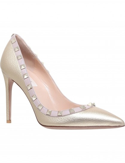 VALENTINO Rockstud 100 metallic-leather courts #gold #pumps #shoes