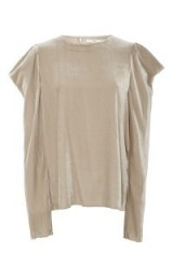 Tibi Velvet Draped Sleeve Top