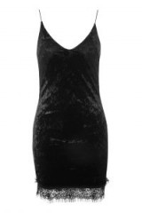 TOPSHOP Velvet Lace-Trim Slip Dress