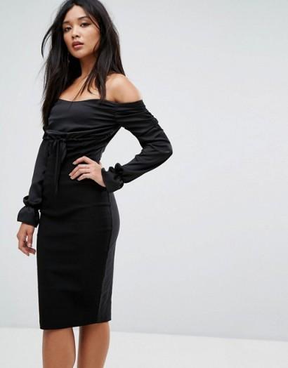 Vesper Bardot Midi Dress with Ruched Detail #lbd