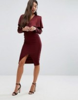 Vesper Cold Shoulder Midi Dress with Long Sleeves #burgundy #evening #dresses