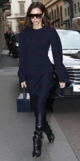 Victoria Beckham looks effortlessly stylish dressed in this navy outfit and black leather knee high boots – celebrity street style