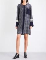 VICTORIA VICTORIA BECKHAM Geometric-print silk-twill dress