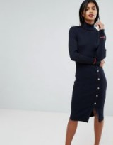 Vila Long Knittted Bodycon Dress With Gold Button Detail | high neck sweater dresses | knitwear