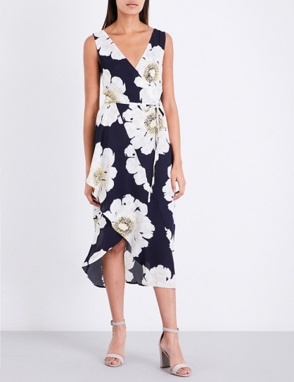 WAREHOUSE Melody floral-print crepe dress / blue and white floral dresses